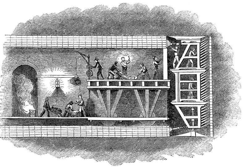Le tunnelier a été notamment utilisé pour le creusement du métro de Londres. À l'image : le tunnelier breveté et dessiné par Marc Isambart Brunel. © Nichtbesserwisser, Domaine public, Wikimedia Commons