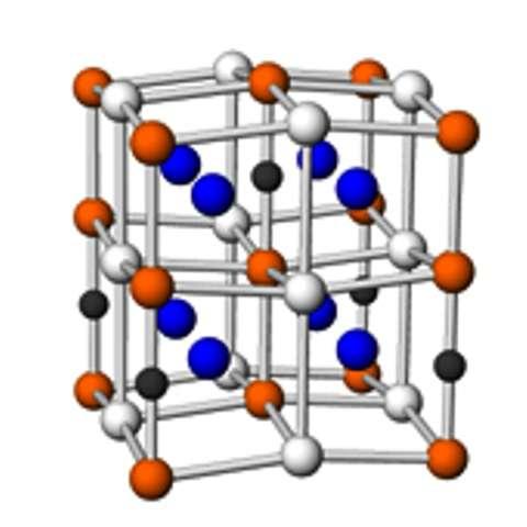 Un schéma de la structure du nitrure de fer alpha''. Crédit Kikkawa Laboratory