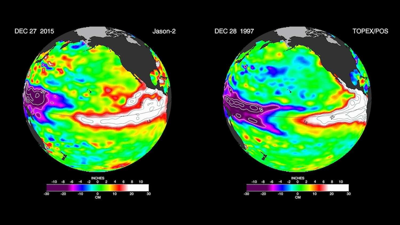 À gauche, une récente image réalisée par le satellite Jason-2 et, à droite, une autre image prise par Topex/Poseidon à la même période de l'année il y a 18 ans, lors du mémorable épisode de l'hiver 1997-1998. Les couleurs indiquent les différences d'élévation des eaux en surface, différences induites par les températures. En violet, les eaux les plus froides (jusqu'à -30 cm), en rouge et en blanc, les eaux les plus chaudes (entre 15 et 30 cm). © Nasa, JPL-Caltech
