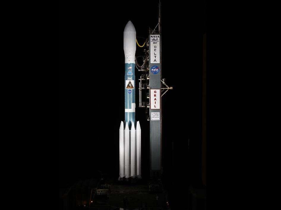 La fusée Delta 2 de la mission Grail sur le pas de tir de la base spatiale de l'US Air Force, à Cap Canaveral, en Floride. © Nasa