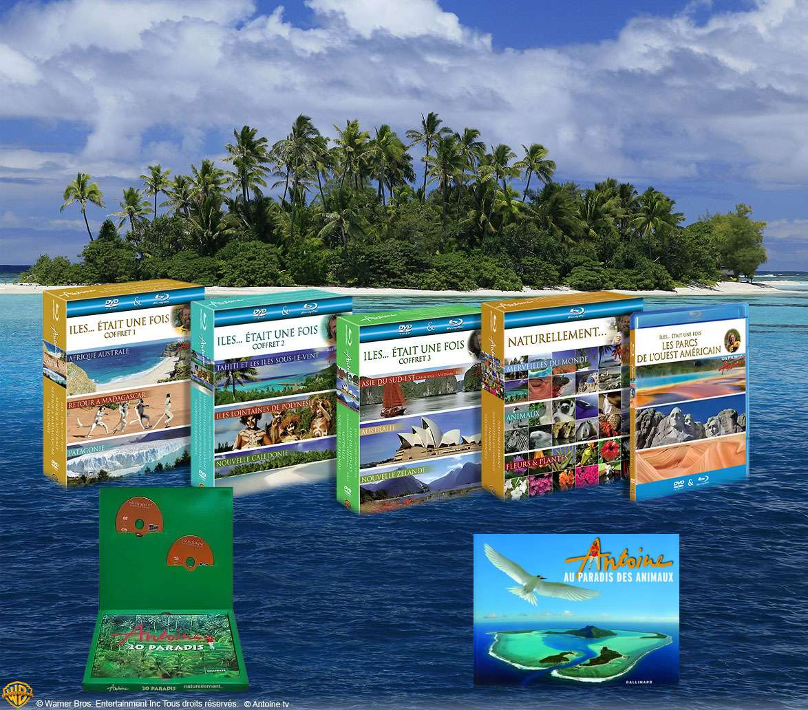 """Concours """"Les Îles d'Antoine"""" : les lots à gagner ! Des coffrets « Îles... était une fois », mais aussi des livres d'Antoine. © DR"""
