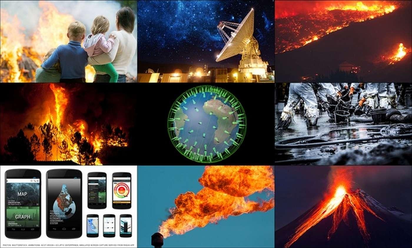 En s'appuyant sur un réseau de 200 capteurs thermiques embarqués dans des satellites, le projet FireSat de la Nasa veut améliorer sensiblement la détection des départs de feu, mais aussi des explosions, du torchage illégal ou encore des fuites d'hydrocarbures. © Nasa JPL, Quadra Pi R2E