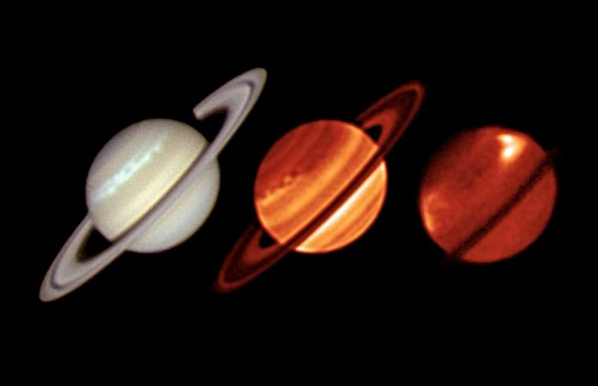 Trois images prises dans trois longueurs d'onde différentes (visible et infrarouge) révèlent l'étendue de la tempête qui touche Saturne en janvier 2011. © ESO/University of Oxford/L.-N. Fletcher/T. Barry