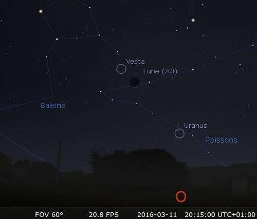 La Lune en rapprochement avec Vesta et Uranus
