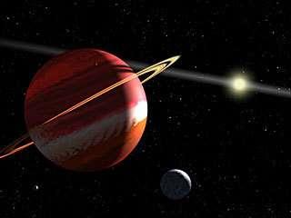 Vue d'artiste de l'étoile Epsilon Eridani et de ses 2 planètes