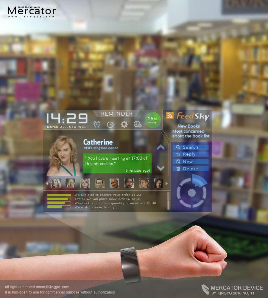 En Chine, le designer Kingyo a imaginé un bracelet communiquant qui affiche ses informations sur un hologramme, montrant des pages Web, des cartes et même des renseignements sur l'état physiologique du porteur de l'appareil. © Kingyo