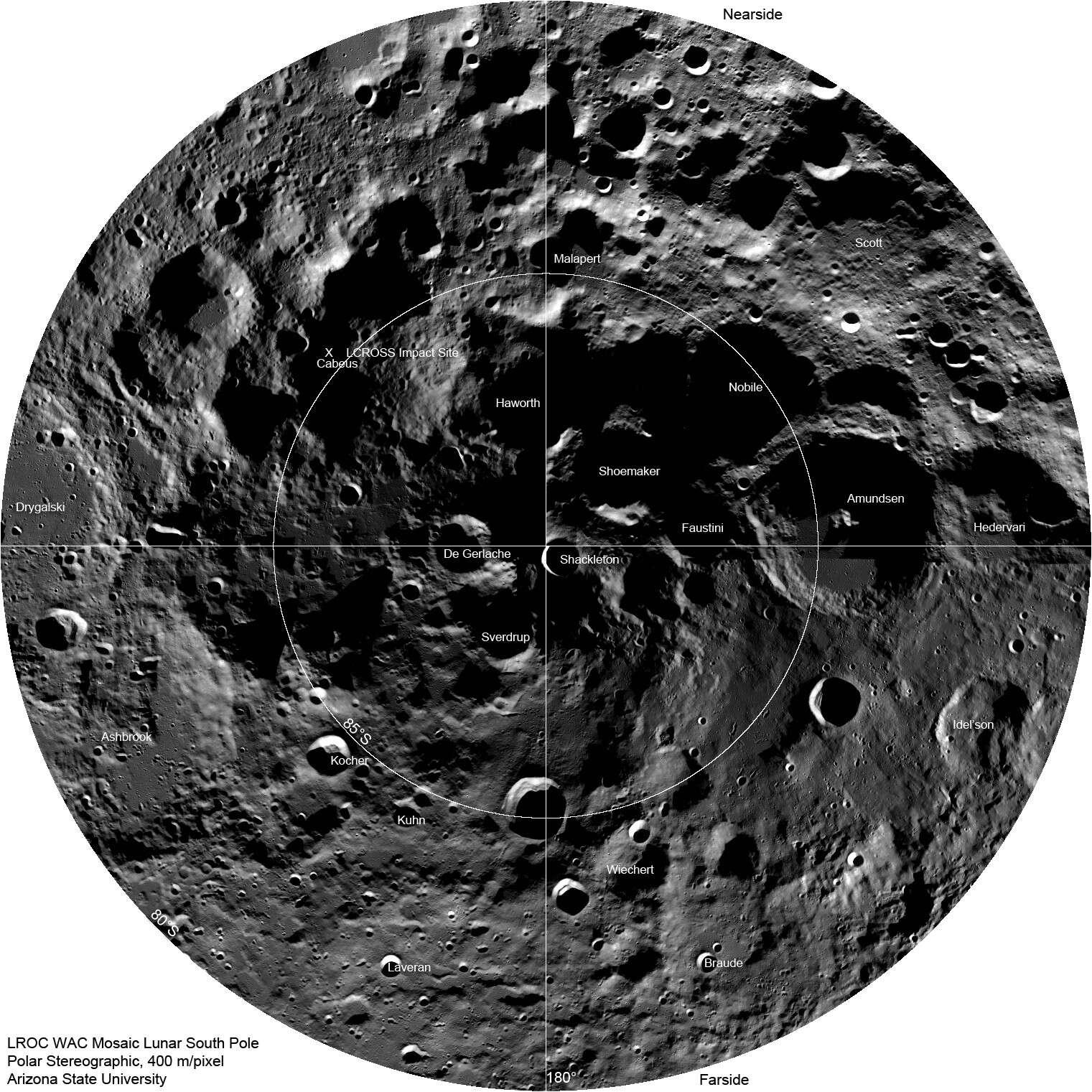 Le pôle Sud lunaire tel qu'il a été reconstitué à partir des images obtenues par l'orbiteur LRO. Crédit Nasa/GSFC/Arizona State University