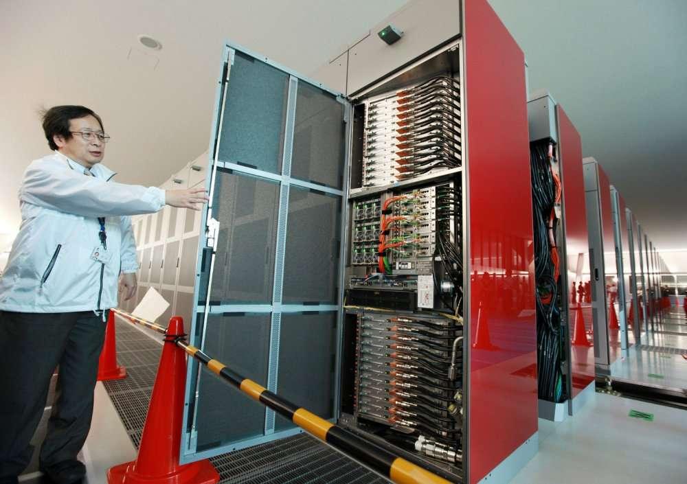 Le superordinateur K au laboratoire Riken de Kobe. © AFP Photo/Jiji Press