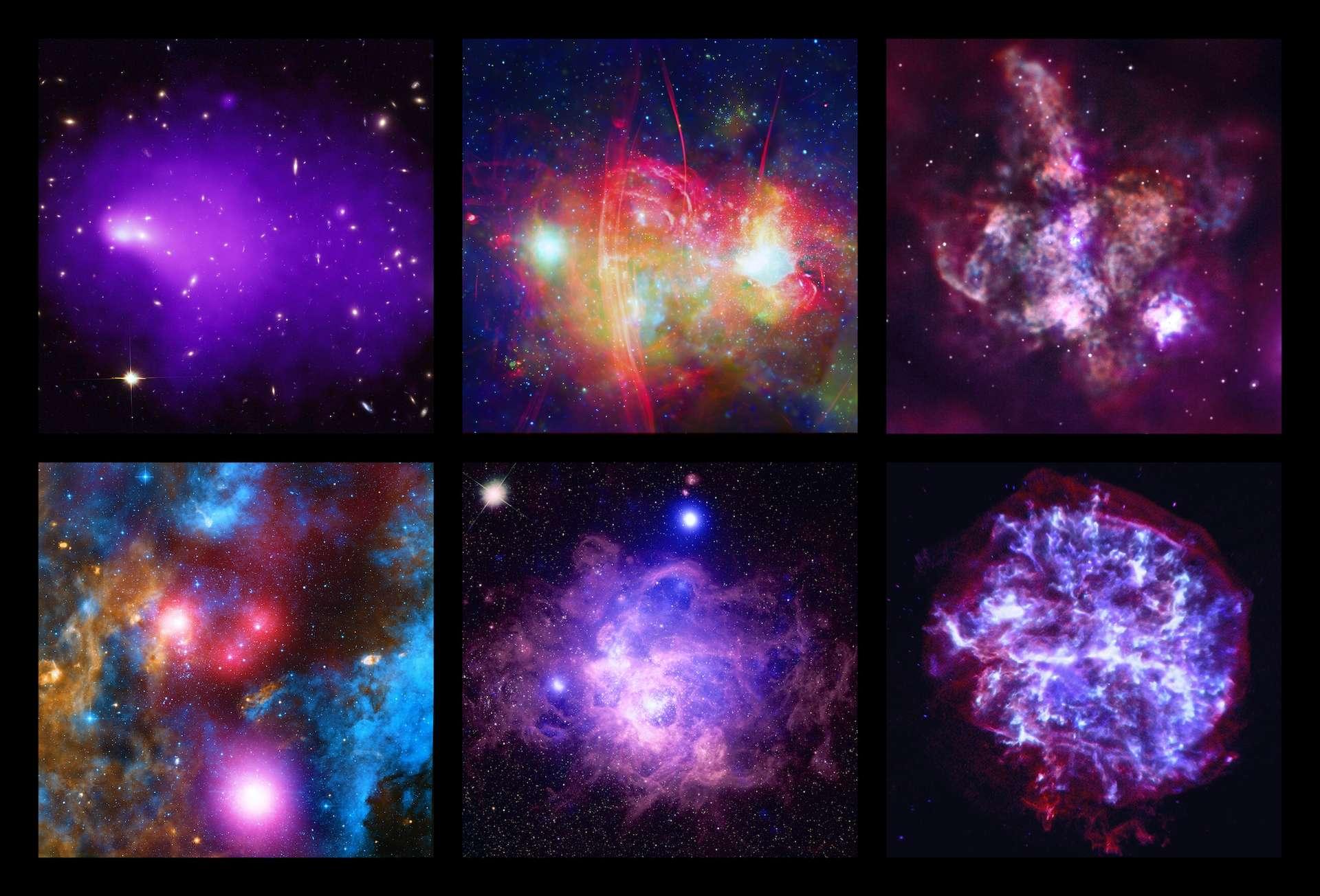 Six nouveaux portraits d'objets cosmiques réalisés par Chandra. Images composites. © Nasa