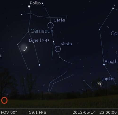 La Lune en rapprochement avec Cérès
