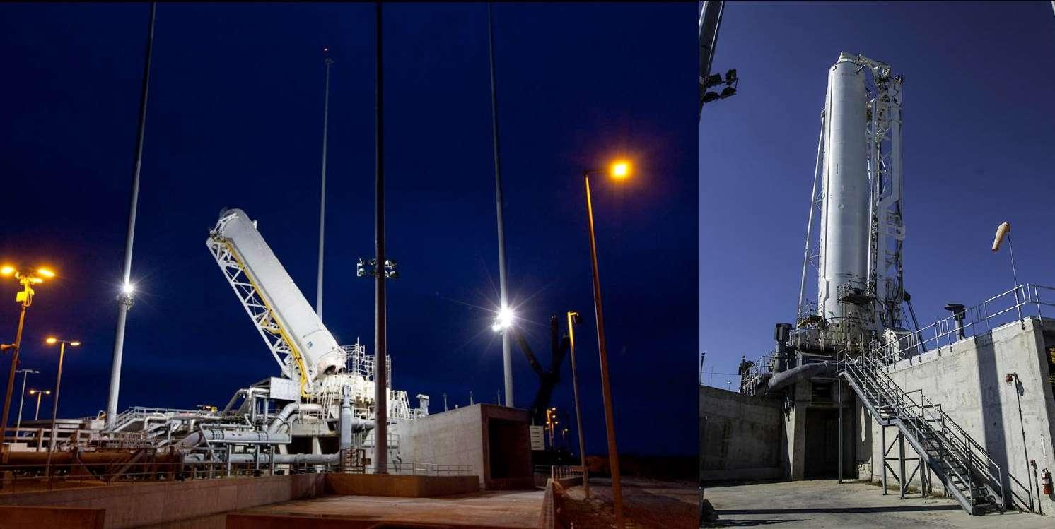 Le premier étage du lanceur Antares mis en place sur son pas de tir, pour tester ses deux moteurs en conditions réelles de lancement. © Patrick Black, Nasa