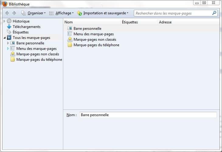 Tous les marque-pages se gèrent via la Bibliothèque, accessible par le bouton Firefox ou le menu Outils. © Guénaël Pépin