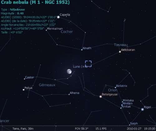 La Lune est en rapprochement avec l'étoile Alnath et la nébuleuse du Crabe