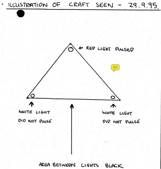 Un des dessins figurant dans les témoignages diffusés par les Archives nationales britanniques. Pour une fois, la soucoupe est triangulaire.