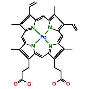 Structure moléculaire de l'hème avec, au centre de la porphyrine, l'atome de fer. © Alan J. Cann CC by-nc-sa 2.0