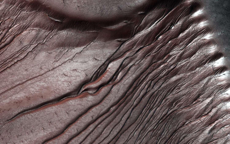 L'origine des ravines martiennes (gullies) a longtemps été attribuée à l'action de l'eau liquide, mais elles seraient en réalité générées par les effets de la glace de CO2 à la fin de l'hiver. Les dunes du cratère de Russel sont ici partiellement couvertes de glace de CO2. © Nasa, JPL, University of Arizona