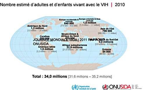 Nombre estimé d'adultes et d'enfants vivant avec le VIH en 2010. © Onusida