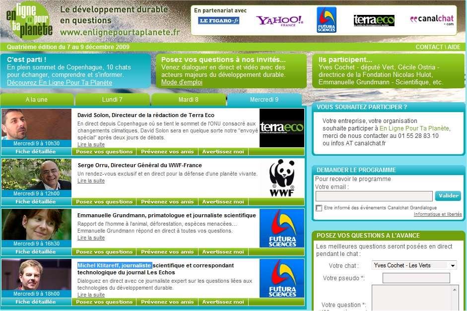 Consultez le programme de En ligne pour ta planète et complétez votre agenda de la semaine pour ne pas manquer ces rendez-vous...