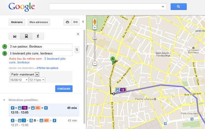 Les horaires de métro et de train sont désormais consultables sur Google Maps, ici un exemple à Bordeaux. © Numerama