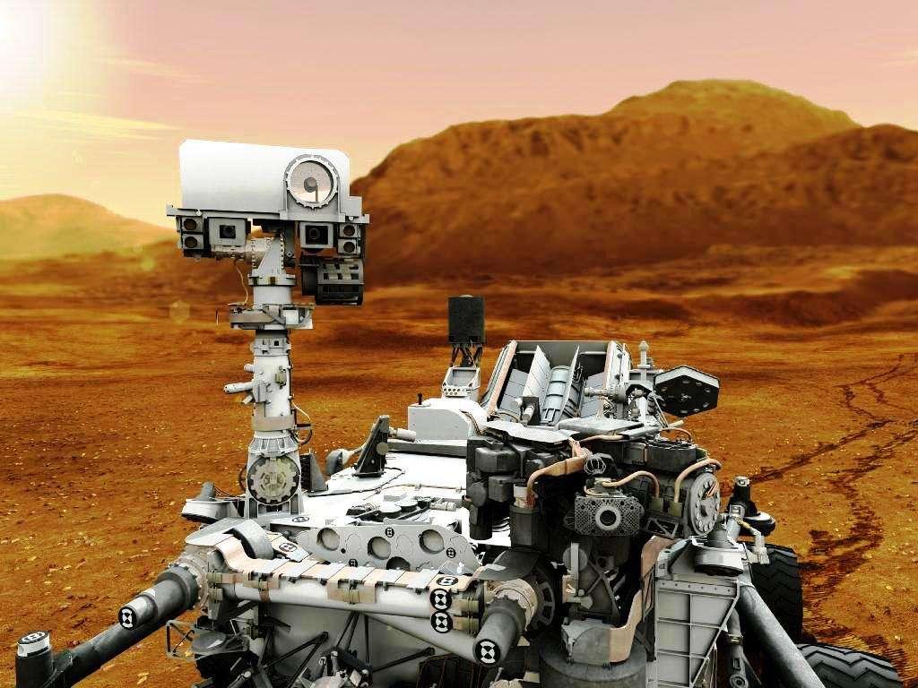 Une vue d'artiste du rover Curiosity sur Mars. Sa mission devrait durer 2 ans au minimum si tout va bien. Il a coûté 2,5 milliards de dollars. © Nasa/JPL-Caltech