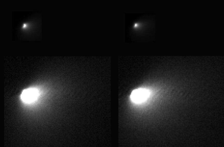 La comète C/2013 A1 Siding Spring photographiée le 19 octobre à 138.000 km de distance avec la caméra haute résolution de la sonde spatiale américaine Mars Reconnaissance Orbiter. La taille du noyau de cet astre venu pour la première fois des confins du Système solaire est désormais estimée à moins de 500 mètres. © Nasa, JPL-Caltech, University of Arizona