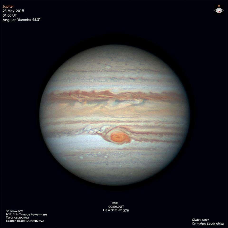 Jupiter et sa Grande Tache rouge le 23 mai 2019. © Clyde Forster
