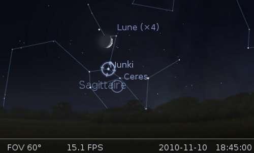La Lune en rapprochement avec Cérès et l'étoile Nunki