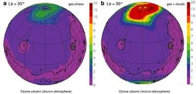 Distribution polaire de l'ozone atmosphérique martien. Crédit Esa