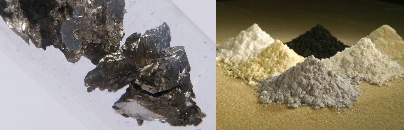 Le praséodyme est un métal gris (image de gauche) qui appartient au groupe des terres rares, visibles sur l'image de droite sous leurs formes oxydées – le praséodyme se situe au fond, au milieu, en noir. © Peggy Greb, US department of agriculture, Wikimedia Commons, DP et Jurii, Wikimedia Commons, CC by 3.0