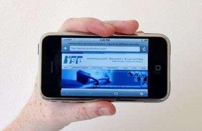 La page d'accueil de l'Independent Security Evaluators… sur un iPhone. Crédit : ISE.