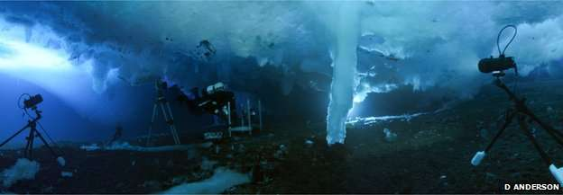Des cameramen de la BBC ont filmé une stalactite marine. © Doug Anderson/BBC