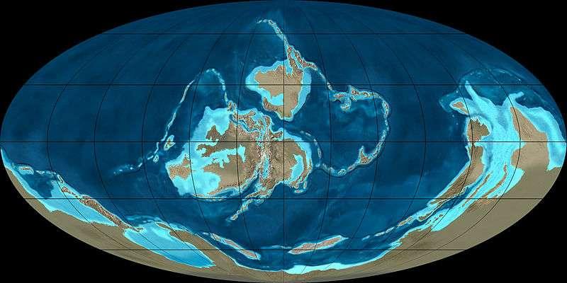 Au Silurien, le supercontinent Gondawana occupe une grande partie de l'hémisphère sud. Les autres masses continentales se rapprochent progressivement. Plus tard, elles formeront un deuxième supercontinent : Laurussia. © Ron Blakey, NAU Geology, Wikimedia Commons, cc by sa 3.0