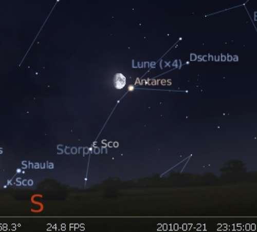 La Lune est en rapprochement avec l'étoile Antarès