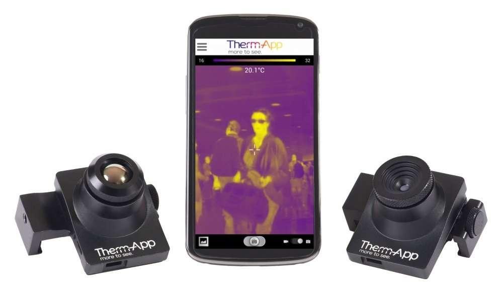 La caméra Therm-App, présentée par Opgal Optronic Industries, capte les infrarouges. Elle se fixe sur un smartphone et fonctionne avec le système d'exploitation Android. © Opgal Optronic Industries