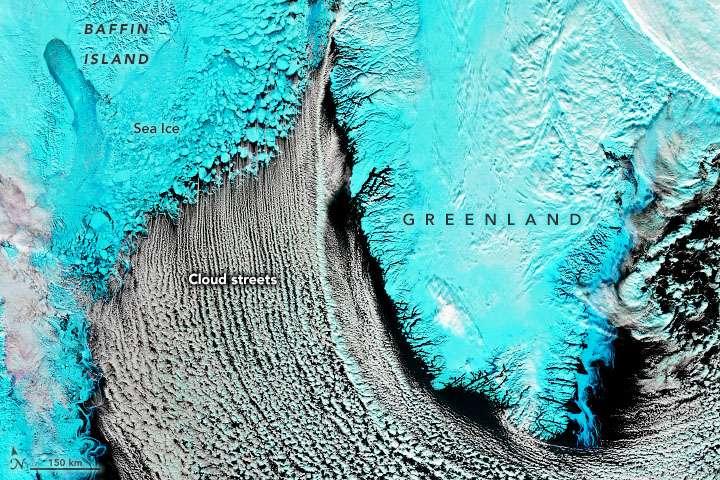 Les rivières de nuages au-dessus de la mer du Nunavut le 1er mars 2020. L'île de Baffin apparaît au nord-ouest (en haut à gauche), le Groenland au nord-est (en haut à droite). © Modis Land Rapid Response Team, Nasa GSFC