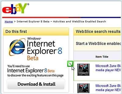 Une illustration des Web slices, une nouveauté d'IE8 servant à suivre les modifications d'une page Web. © Microsoft