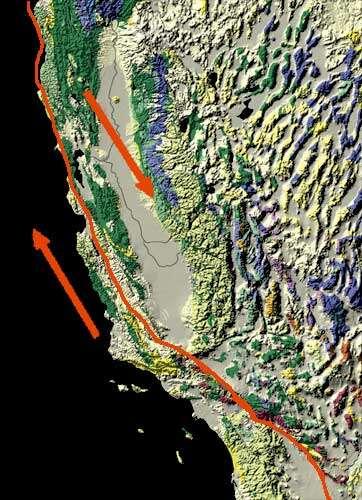 La faille de San Andreas (Californie, États-Unis) est dite décrochante, car elle marque la limite entre deux plaques tectoniques qui coulissent l'une contre l'autre dans des directions opposées. © USGS, Wikimedia Commons, DP