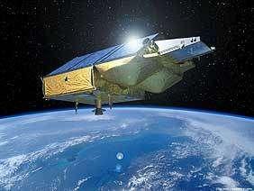 Vue d'artiste du satellite Cryosat qui surveille la banquise et les calottes glacières