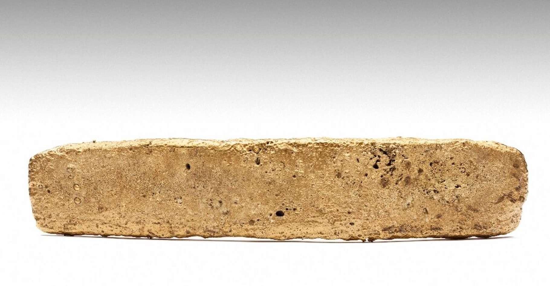 En 1981, un ouvrier a trouvé un lingot d'or à Mexico, à l'endroit même où passait la route empruntée par les conquistadors espagnols pour fuir les Aztèques en juin 1520. Des analyses confirment que ce lingot appartenait au trésor aztèque. © National Institue of Anthropology and History