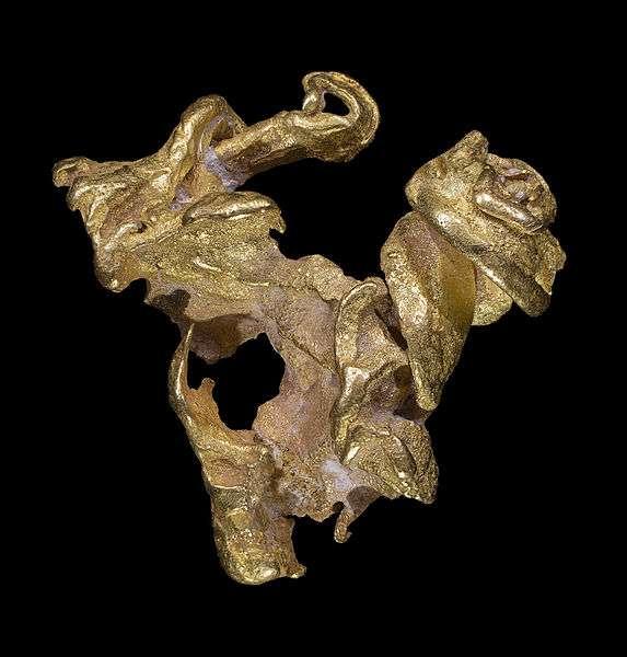 L'or est un matériau diamagnétique. Sur cette photo, de l'or natif issu d'une mine au Venezuela. © Didier Descouens, Wikimedia Commons, CC by-sa 4.0