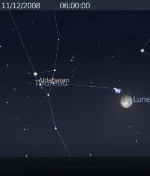 La Lune est en rapprochement avec l'amas des Pléiades et l'étoile Aldébaran