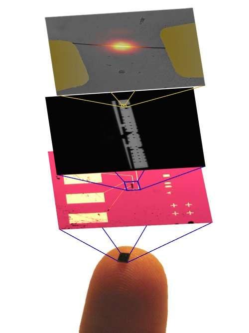 Série de zooms, passant de la puce en silicium sur laquelle est fixé le nanotube de carbone à la lampe à incandescence, en fonctionnement. Crédit : Regan Group, UCLA