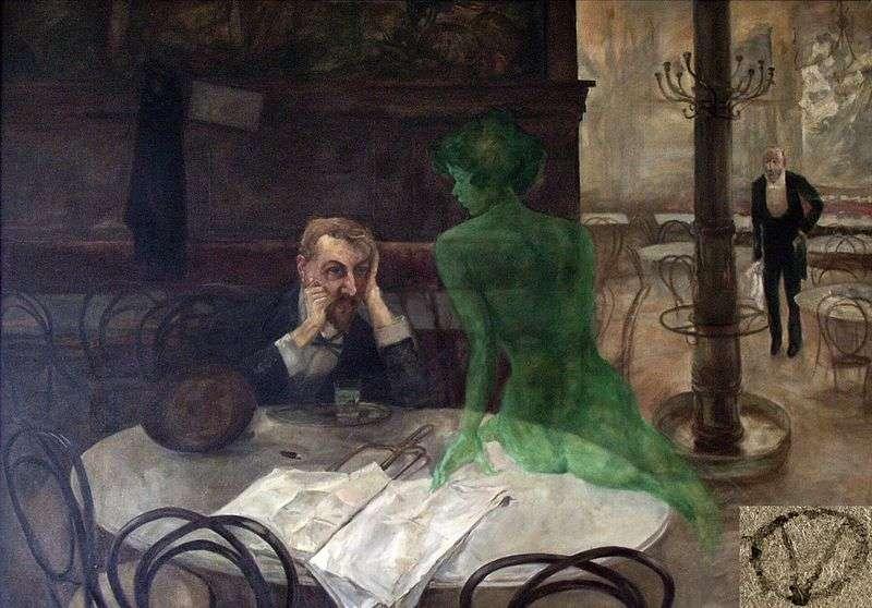 On appelle fantôme une apparition, une vision ou une illusion interprétée comme la manifestation surnaturelle d'une personne décédée. Les fantômes sont également appelés revenants, spectres, poltergeist pour « esprit frappeur » ou, plus rarement, ombres. © Le buveur d'absinthe (1901) par Viktor Oliva