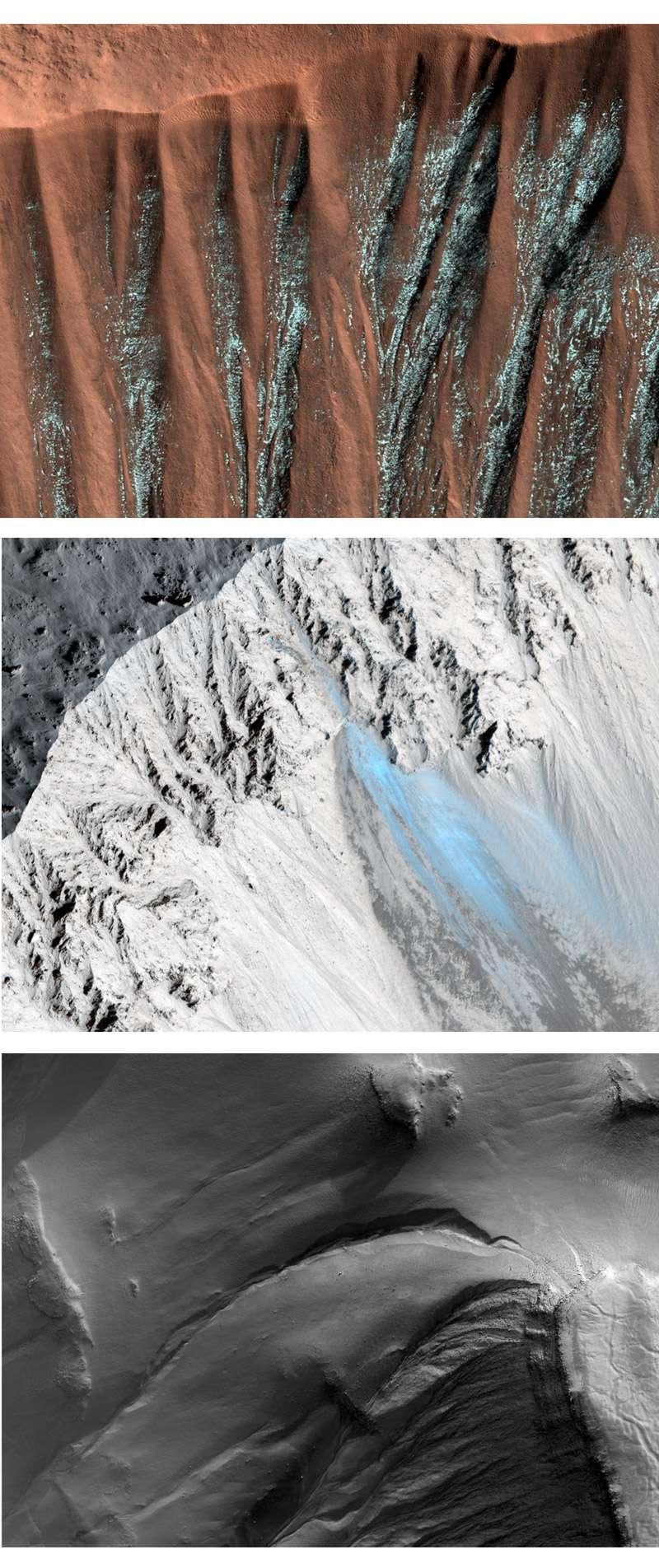 Ces images en fausses couleurs (sauf celle du bas) montrent que ces ravines sont formées (ou drainent quelque chose) à base d'eau à l'état glacé. Mais malgré la résolution des instruments qui tournent autour de Mars, il est très difficile de se faire une idée précise sur la nature de ce phénomène. © Nasa/JPL/University of Arizona