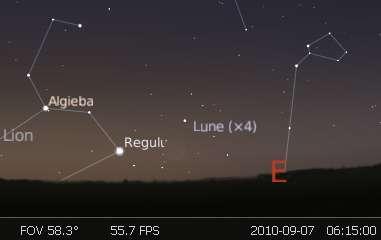 Observez le très fin croissant lunaire en rapprochement avec l'étoile Régulus