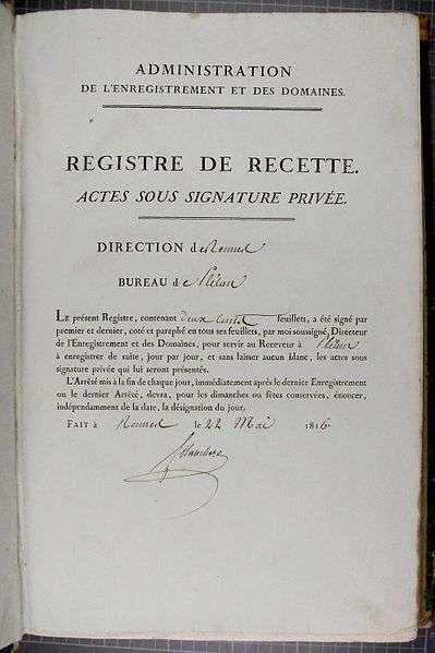Un acte sous seing privé peut être enregistré par le service de l'enregistrement. Il peut s'agir d'un contrat d'assurance ou d'un compromis de vente. © TigH, domaine public , Wikimedia Commons