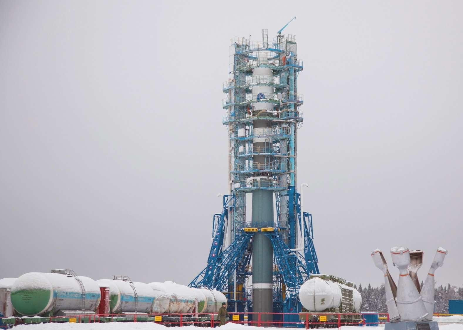 Le nouveau lanceur de la famille Soyouz. Cette version, ici vue sur son pas de tir du cosmodrome de Plessetsk, vient d'effectuer son premier vol d'essai. © TsSKB Progress