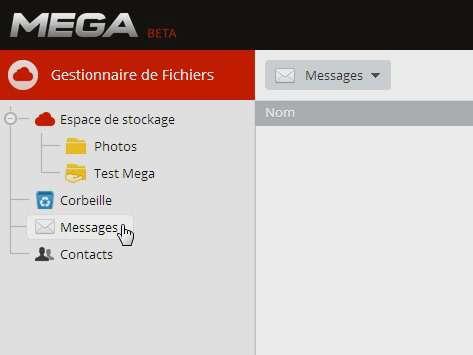 Dans l'interface de Mega figure déjà un dossier « Messages », qui devrait accueillir le futur service de courriel crypté promis par Kim Dotcom. © Marc Zaffagni, Futura-Sciences