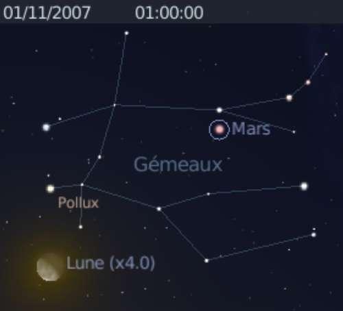 La Lune est en conjonction avec l'étoile Pollux