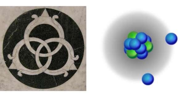 De même qu'il suffit de couper un seul anneau borroméen pour libérer les deux autres, il suffit d'arracher un neutron à un noyau borroméen pour le rendre plus instable. Crédit : Alan Stonebraker